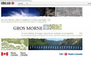Gros Morne TimeLines splash page
